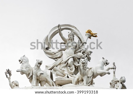 Statue of greek goddess Melpomene in a chariot drawn by four panthers. Opera House, Odessa, Ukraine - stock photo