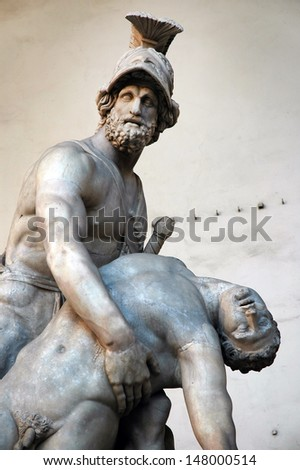 Statue of greek hero Menelaus holding Patroclus in Florence, Italy  - stock photo