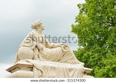 Statue of grieving woman on Tacambaro Square in Oudenaarde, Belgium created in memory of Belgian volunteers in Mexico in 1860-ties. - stock photo