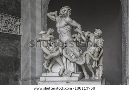 Statue of Heracles fighting a giiant snake, Capitoline, Rome, Italy, 2014 - stock photo