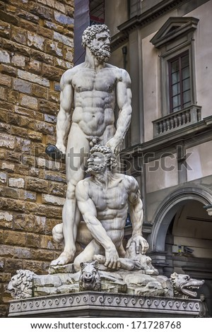 Statue of Hercules and Cacus in the Piazza della Signoria in Florence, Italy - stock photo
