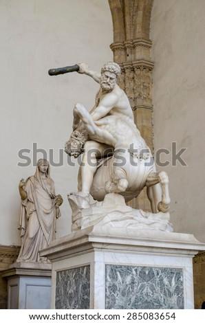 Statue of Hercules and Centaur of Giambologna, piazza della Signoria, Florence - stock photo
