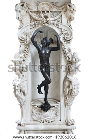 Statue of Hermes, part of marble base of the Pereseus with the head of Medusa sculpture isolated on white. The sculpture is situated within public space on the Piazza della Signoria in Florence, Italy - stock photo