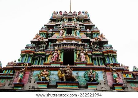 Statue of Hindu God in Indian Temple - stock photo