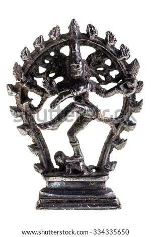 Statue of indian hindu god dancing Shiva Nataraja. isolated on white background - stock photo
