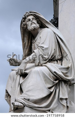 Statue of Isaiah by Salvatore Revelli at the base of the Column of the Immaculate Conception in Rome, Italy - stock photo