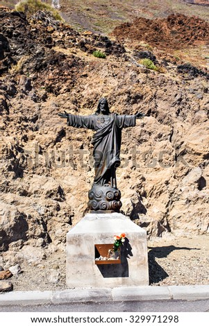 Statue of Jesus Christ in Mount Teide. Tenerife. Spain. Christian Symbol - stock photo