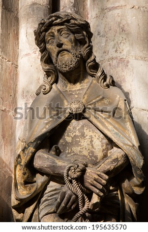 Statue of Jesus Christ on Good Friday in the cathedral of Amiens.  - stock photo