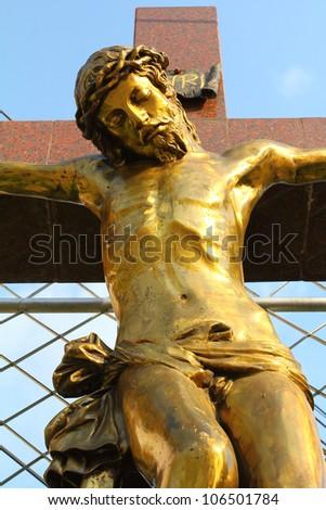 Statue of Jesus Christ. Sacred Heart. Christianity symbol - stock photo