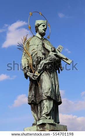 statue of John of Nepomuk saint martyr in Czech Republic and in all Europe