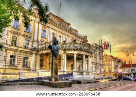 Statue of Jonas Zemaitis in front of Ministry of National Defence in Vilnius, Lithuania - stock photo