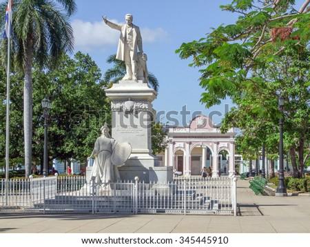 Statue of Jose Marti at Parque Marti in Havana, Cuba - stock photo
