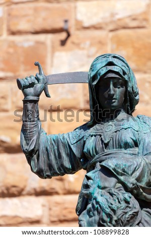 Statue of Judith and Holofernes near Palazzo Vecchio. Florence. Italy - stock photo
