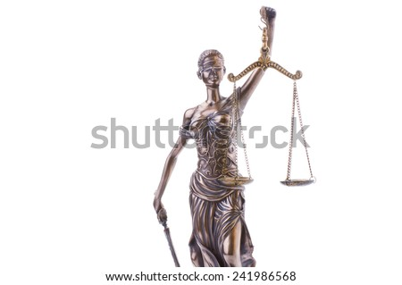 Statue of justice isolated on the white background - stock photo