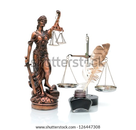 Statue of Justice, scale, ink and pen isolated on white background - stock photo