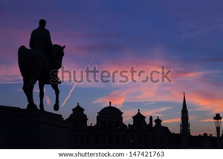 Statue of king Albert I at sunset on the horse, Brussel, Belgium