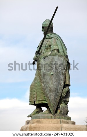 Statue of King Dom Afonso Henriques by the Sacred Hill in the city of Guimaraes. The first king of Portugal in the 12th century - stock photo