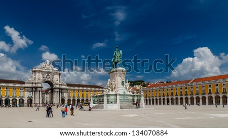 Statue of King Jose I and Rue Augusta Arch on Praca do Comercio in Lisbon, Portugal - stock photo