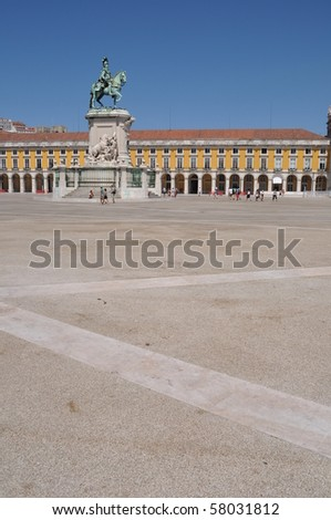 statue of King Jose I in the center of the famous Commerce Square also known as Terreiro do Paco in Lisbon, Portugal - stock photo