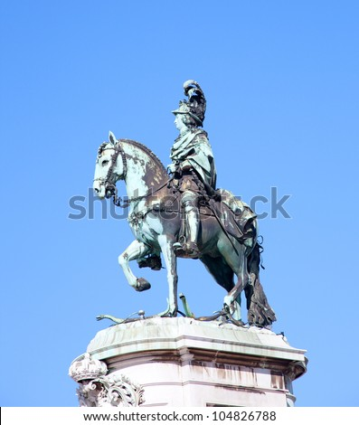 Statue of King Jose on the Commerce square in Lisbon, Portugal - stock photo