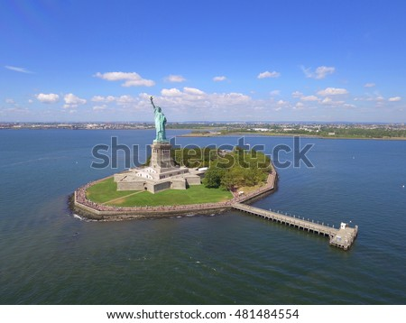Statue of Liberty aerial photo