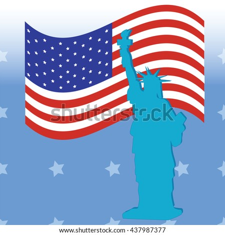 Statue of Liberty American flag on a blue background   American Independence Day July 4 bitmap image