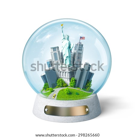 Statue of Liberty and buildings in the glass ball. Unusual travel illustration. USA - stock photo