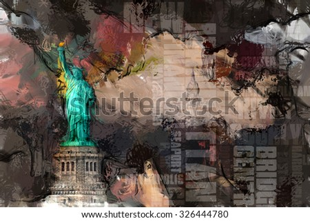 Statue of liberty and NYC - stock photo