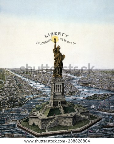Statue of Liberty. Bartholdi 'Statue of Liberty,' erected on Bedloe's Island, in New York Harbor, chromolithograph ca. 1885 - stock photo