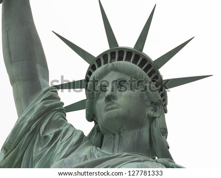 Statue of Liberty Close up on Face against white background