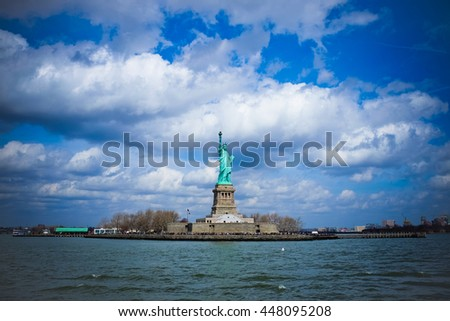 Statue of Liberty Cloudy New York City Landscape - stock photo