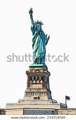 STATUE OF LIBERTY illustration - stock photo