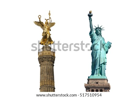 Statue of Liberty in New York City and Victory Column in Berlin isolated on white