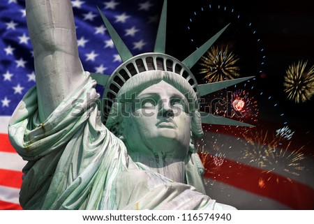 Statue of Liberty in New York City celebration and fireworks