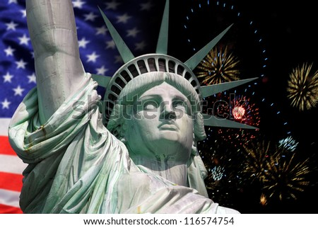 Statue of Liberty in New York City celebration and fireworks. Best for small scale