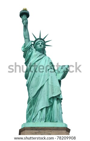 Statue of Liberty in New York City isolated in white. - stock photo