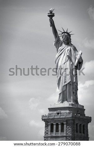 Statue of Liberty in New York City, United States. Black and white tone - retro monochrome color style. - stock photo