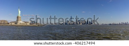 Statue of Liberty in the morning in winter - stock photo