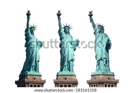 statue of liberty, isolated, new york, usa, different perspectives - stock photo