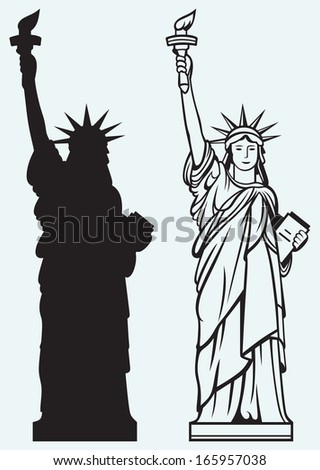 Statue of Liberty isolated on blue background. Raster version - stock photo