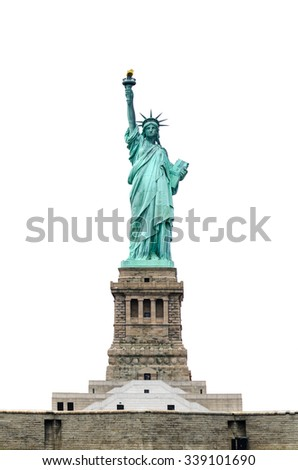 Statue of Liberty isolated on white background with base - stock photo