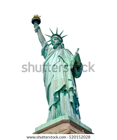 Statue of Liberty isolated on white, New York City