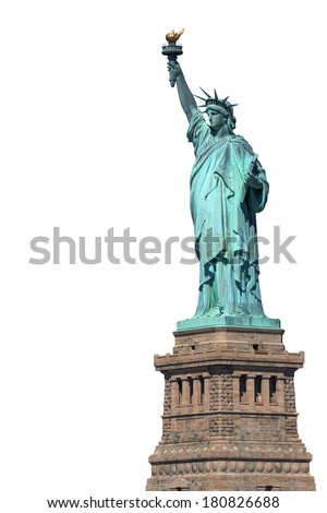 statue of liberty - new york - usa - isolated on white - stock photo
