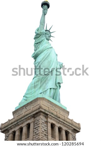 Statue of Liberty on isolated on white background. - stock photo