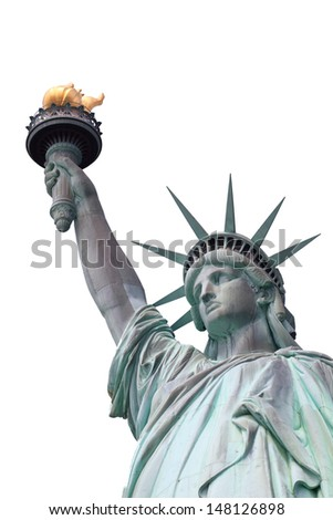 Statue of Liberty on Liberty Island in New York City - stock photo