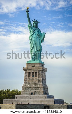 Statue of Liberty on Liberty Island on a sunny day, New York City, USA