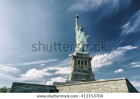 Statue of Liberty on Liberty Island on a sunny day, New York City, USA, retro style