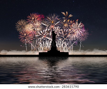 Statue of Liberty on the background of fireworks and starry sky, independence day - stock photo