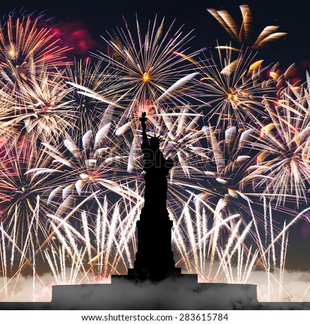 Statue of Liberty on the background of fireworks, independence day - stock photo