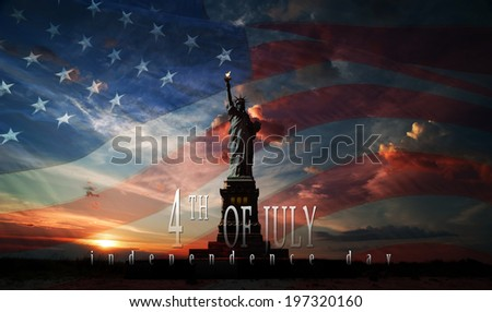 Statue of Liberty on the background of flag usa and sunrise - stock photo